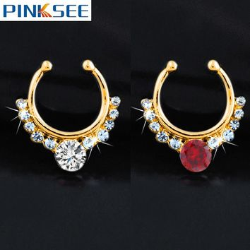 Rhinestone Nose Studs Crystal Fake Septum Nose Ring Clip On Nose Piercing Hanger Copper Faux Nose Hoops Non Piercing