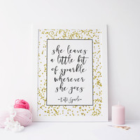 Kate Spade Decor,Girls Room Decor,Girls Bedroom Decor,Wall Art,Sparkle Quote,Nursery Decor,Typography Print,printable art,Kate Spade Quote