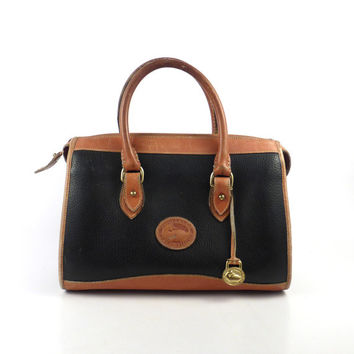 Dooney and Bourke Purse Vintage 1980s Black and  Brown Leather Handbag