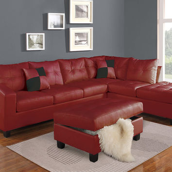 Acme Kiva Ottoman with Storage, Red Bonded Leather Match