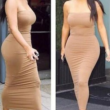 Sexy Strapless Solid Tight Maxi Dress