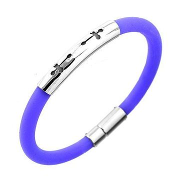 Round Purple Rubber And Stainless Steel Bracelet With Two Cross Design