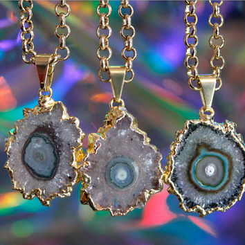 Amethyst Stalactite Gold Plated Pendant With Strong Soldered Chain - Purple Amethyst Slice, Solar Quartz, Amethyst Flower, Gold Dipped