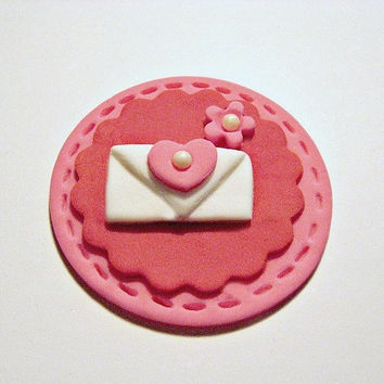 Valentines Love Letter. Fondant Cupcake, Cake, Cookie Toppers. Set of 12 (one dozen)