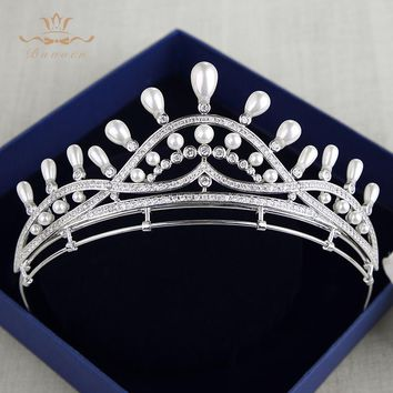 Top Quality Royal Brides Sparkling Zircon Tiaras Crowns Silver Crystal Hairbands Headpieces Pearls Wedding Hair Accessories