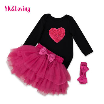 Retail Valentine 's Day Baby Clothing Cotton Black Full Sleeve Heart Printed Rompers tutu Skirt Sets With Bow Festival Clothes