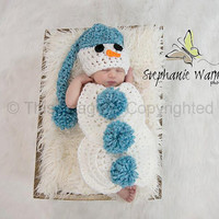 Snowman,snowbaby crochet hat and body cover/tushy topper, Christmas /winter photography prop