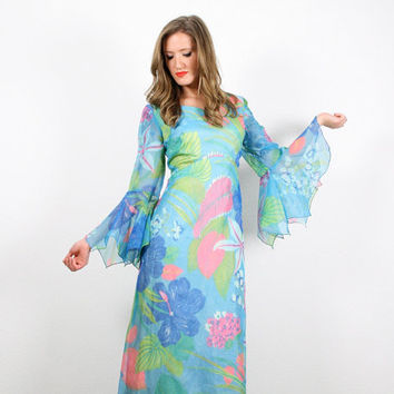 Vintage Angel Sleeve Dress Hippie Dress Maxi Dress Aqua Teal Blue Green Pink Tropical Floral Print Scarf Kimono Sleeve Hippie Gown L Large