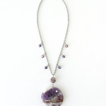 Round Amethyst Stone Slab Pendant Necklace on Stainless Steel Chain, Simple Bold Jewelry