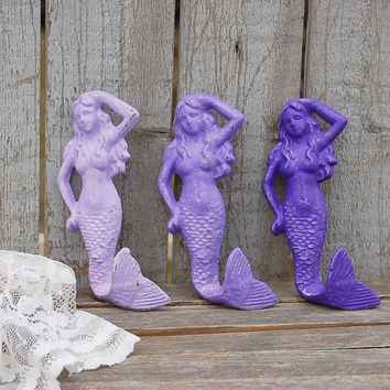 Purple cast iron mermaid hooks