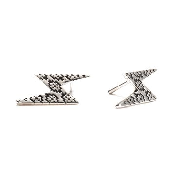 Patterned Lighting Bolt Stud Earrings