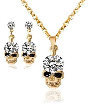 1 Set Women Lady Rhinestone Skull Necklace Pendant Earrings Jewelry For Gifts Wedding Party