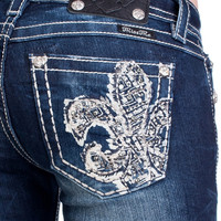 Miss Me MK 333 Fleur Di Lis Medium Blue Signature Bootcut Jeans
