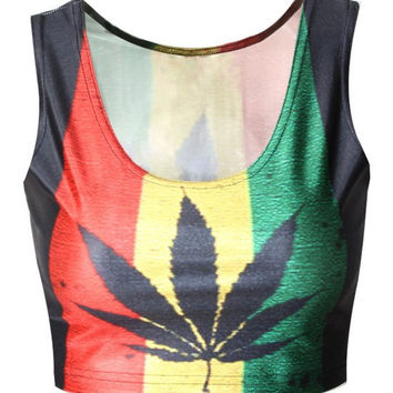 Active Maple Leaf Printed Bodycon Hit Color Cropped Tank Top