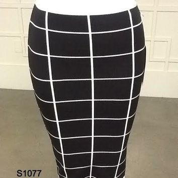 knit checkered mid pencil skirt