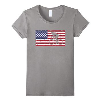 American Flag Cycling T-shirt Vintage Bicycle Casual Top Tee