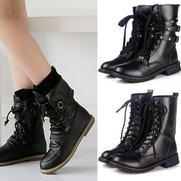 New Women Motorcycle Ankle Combat Boots Flat Lace Up Goth Punk Rock Desert shoes