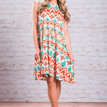 Wild In The West Dress, Coral