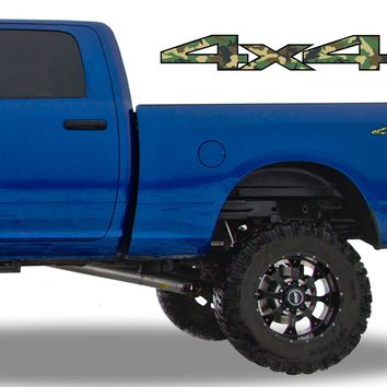 4x4 Forest Camo Bedside Decals Fits Dodge Ram 2010-13 1500 2500 3500 Power Wagon