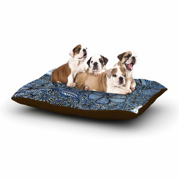 "Julia Grifol ""Blue Flowers In My Garden"" Aqua Navy Dog Bed"