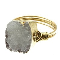 In a Fog Druzy Crystal & Gold Wire Ring