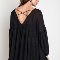 Ruffled Baby Doll Blouse - Black