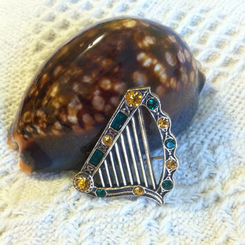 Celtic Irish Harp Brooch Green and Gold Vintage Sol D'Or Miracle Lyre Pin 1970's Made In United Kingdom Traditional Anglo-Saxon Jewelry