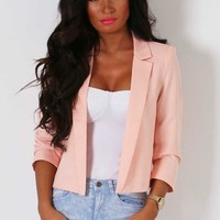 Milana Peach Lightweight 3/4 Sleeve Blazer | Pink Boutique