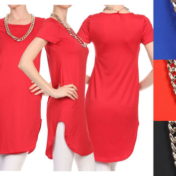 Women Short Sleeve Round Neck Necklace Detail Long Tunic Top Knit Dress