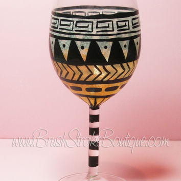 Hand Painted Wine Glass - Aztec Tribal Pastel Orange - Original Designs by Cathy Kraemer