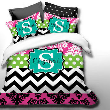 Custom Damask Monogrammed Duvet Bedding Set-Personalized Monogram-Twin, Full,Queen, King