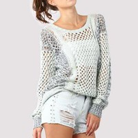 Light Mint Green Cable Knit Sweater with Cutout Waffle Detai