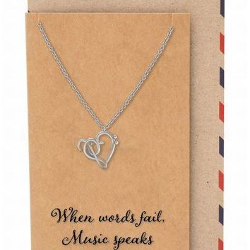 Vivienne Treble Heart Pendant Necklace Gifts for Music Lovers, Music Jewelry