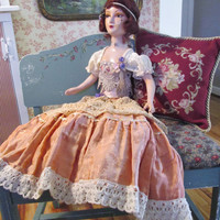 "french boudoir doll circa 1900's 23"" doll 31"" to hem of skirt antique bedroom doll flapper"