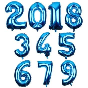 July Forest 32 Inch Blue Art style Digit 0-9 Number Balloons Foil Ballons Birthday Party Wedding Event Say Love Decor Supplies