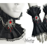 Black jewelry set with Gargoyles - Dark Fabric Collar, Vampire neck corset, Lace cuff bracelet, Fantasy jewelry, Goth Victorian Wedding