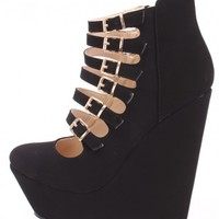 Black Strappy Platform Wedges Nubuck Faux Leather