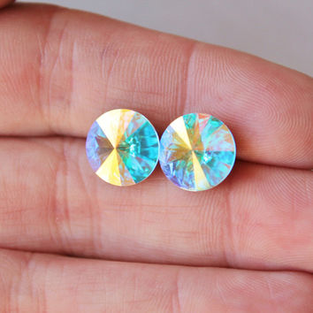 SALE Crystal Aurora Borealis Stud Earrings,Swarovski Stud Earrings,Northern Lights Rivoli Post,Pastel Rainbow,Super Sparklers,Bridal,Bridesm