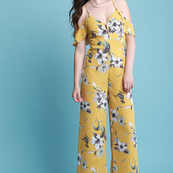 Cold Shoulder Ruffle Wide Leg Floral Jumpsuit | UrbanOG