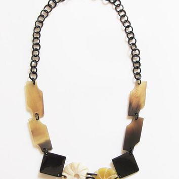 Flower necklace, long chain link necklace, black organic horn, natural materials, hand carved jewelry