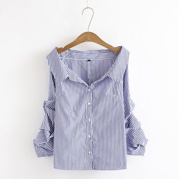 Blue Striped Puff Sleeve Casual Blouse