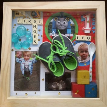 First birthday and shoes. Baby personalised keepsake box frame. Baby first items baby nursery wall decor keepsake baby frame custom made