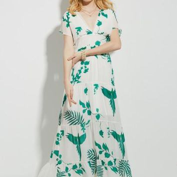 Pleated Vacation Plant Print A-Line Women's Maxi Dress