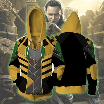 The Avengers Loki 3D Print Hoodies Sweatshirts Cosplay Hooded Casual Coat Jacket Larger Sizes