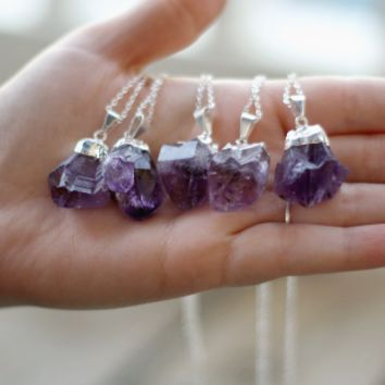 Silver Plated Amethyst Crystal Necklace