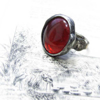 S A L E red romantic RING, Valentine Gift, Adjustable Love Ring, Handmade Art Jewelry, nostalgic, by MARIAELA