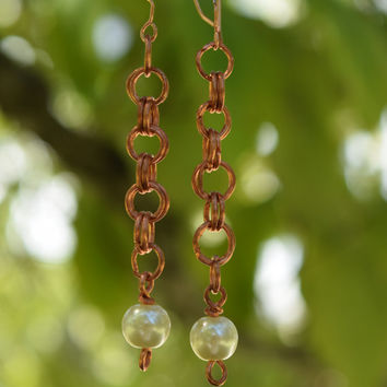 Earrings, Fashion Jewelry, Artisan Jewelry, Copper Chainmaille, Chainmaille Earrings, Chainmaille Jewelry, Copper Dangle Earrings, Pearls