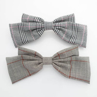 Checkered hair bow french hair barrette K bow french clip