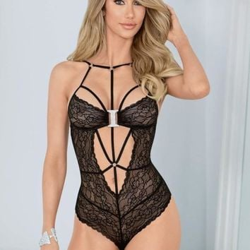 Escante Lingerie Strappy Bling Black Lace Teddy