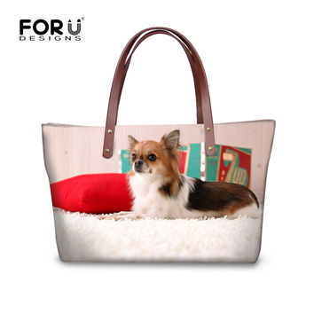 FORUDESIGNS Chihuahua Pattern Fashion Feminine Handbags For Women Casual Shoulder Tote Cross-body Messenger Bag bolsas sac a mai